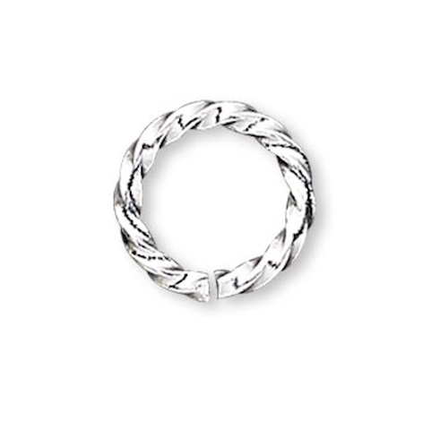100 Silver Plated Brass 20 Gauge 6mm Twisted Round Jump Rings with 4.4mm ID