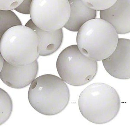 1/4lb Opaque White Resin 13-15mm Round Beads *