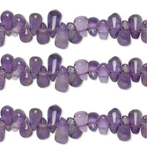 1 Strand Amethyst (Natural) Purple Hand Cut Teardrop Top Drilled Beads