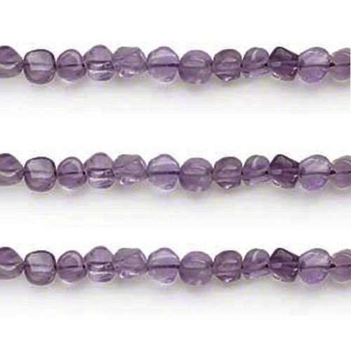 1 Strand Amethyst (Natural) Purple 3-5mm Hand Cut Flat Round Beads *