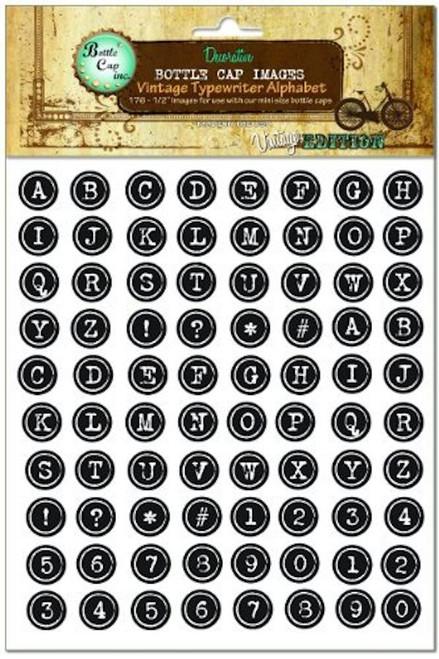 """1 Sheet (176) Vintage Typewriter Alphabet 1/2"""" Bottle Cap Images"""