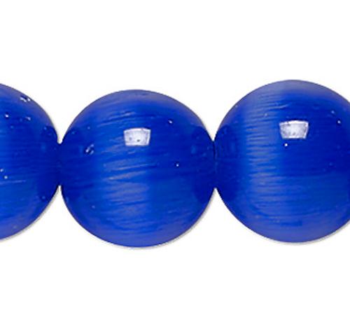 1 Strand Blue Cat's Eye Fiber Optic Glass 6mm Round Grade A Beads