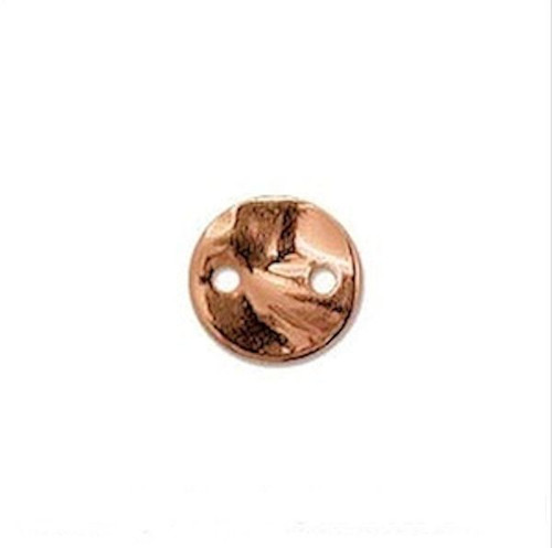 12 Copper Hammered Round Disc Coin 2 Hole Connectors ~ 8mm