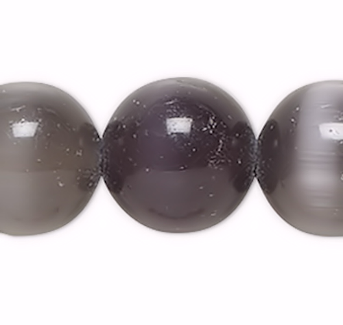 1 Strand Black Cat's Eye Fiber Optic Glass 8mm Round Grade A Beads