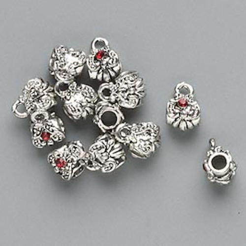 12 Antiqued Silver Slider Bead with Loop & Swarovski Siam Red Crystals  *