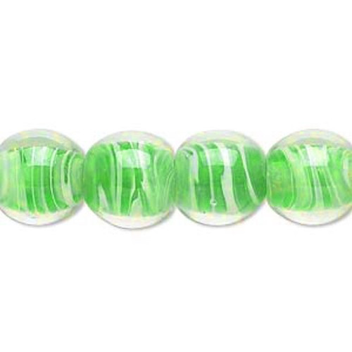1 Strand Clear & Green Swirl Lampwork  12-13mm Round Beads  *