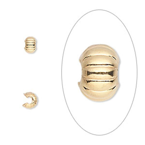 100 Gold Plated Brass 3mm Corrugated Crimp Covers to Hide Crimps & Knots
