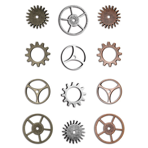 12 Antiqued Silver Gold Copper Sprocket Gear Charms by Tim Holtz