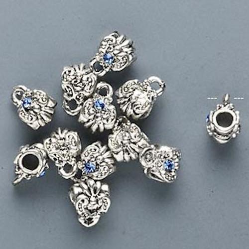 12 Antique Silver Swarovski Sapphire Slider Bead with Loop *