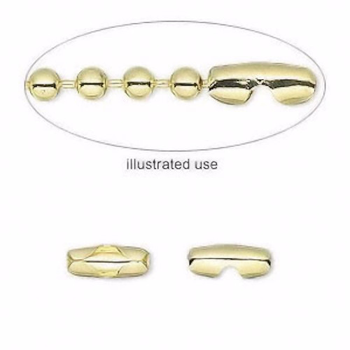 100 Gold Brass Plated Brass 9x3mm Ball Chain Connectors fits 2.4mm Ball Chain