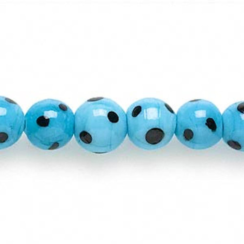 1 Strand Lampwork Glass Turquoise Blue with Black Polka Dots 8-10mm Round Beads*