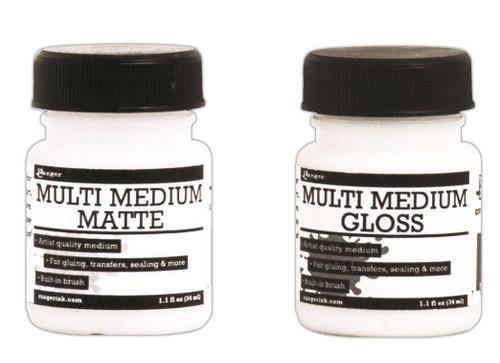 1.1 Oz Jar Ranger Multi Medium Gel Jar ~ Gloss OR Matte Finish with Built in Brush *