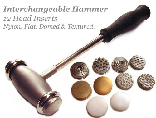 1 Bead Smith Texture Hammer with 12 Interchangeable Heads for Jewelry Designs `