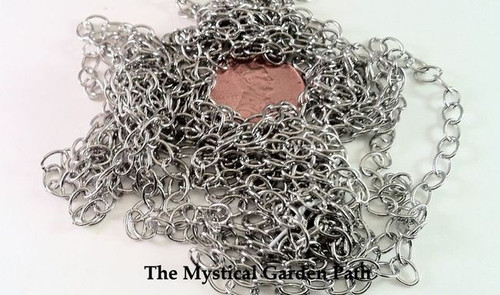 "100"" Antiqued Silver Plated Medium Wide Cable Chain with 4x5mm Links *"