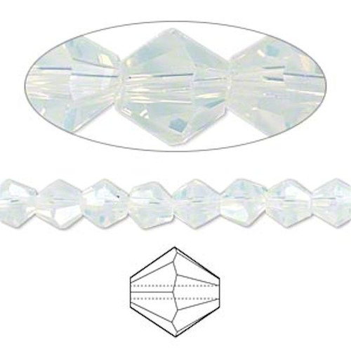 1 Strand Clear Shiny Frost 6mm 16 Facet Bicone Glass Beads *