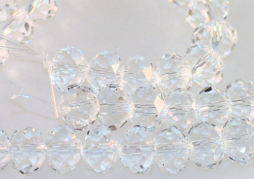 1 Strand Crystal Clear Faceted Glass 8x5mm Rondelle Beads *