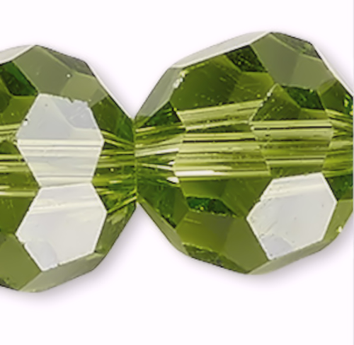 1 Strand Peridot Green 8mm Round 32 Facet Crystal Beads *