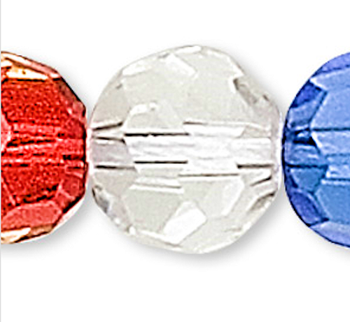 1 Strand Mixed Colors Faceted Glass 5-6mm Round Beads *
