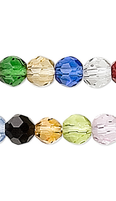 1 Strand Mixed Colors Faceted Glass 3-4mm Round Beads