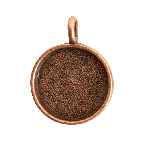 1 Antiqued Copper Plated Pewter Large Circle Bezel Pendant
