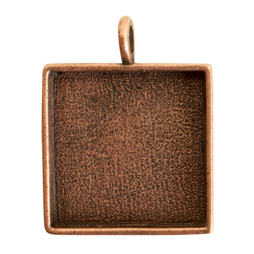 1 Antiqued Copper Plated Pewter Large Square Bezel Pendant
