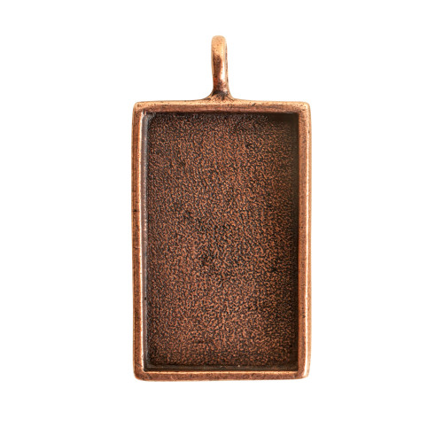 1 Antiqued Copper Plated Pewter Large Rectangle Bezel Pendant