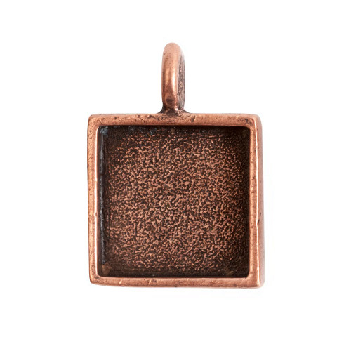 1 Antiqued Copper Plated Pewter Small Square Bezel Pendant
