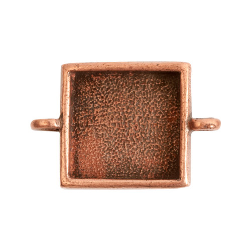 1 Antiqued Copper Plated Pewter Small LINK Square Bezel Pendant
