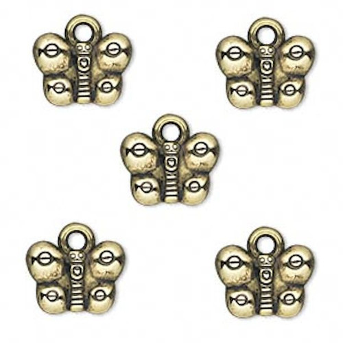 50 Grams Antiqued Gold Metalized Plastic 12x9mm Butterfly Charms *