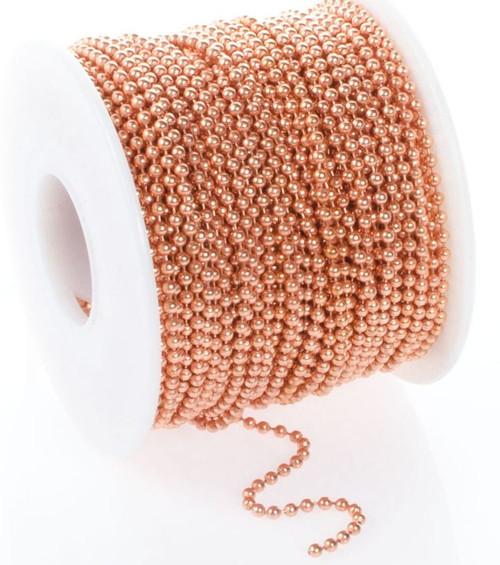 100 Foot Spool Raw Copper Steel Bulk 2.4mm Ball Chain