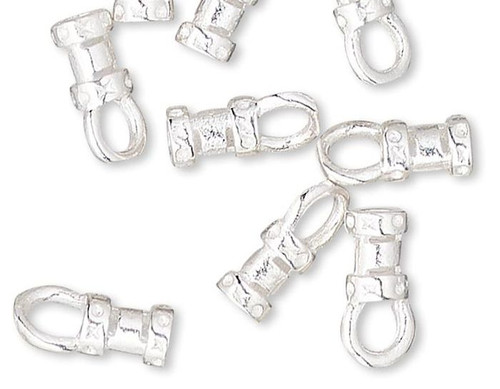 10 Silver Plated Brass 4.5x3mm Crimp Tubes with Loop & 1.5mm ID