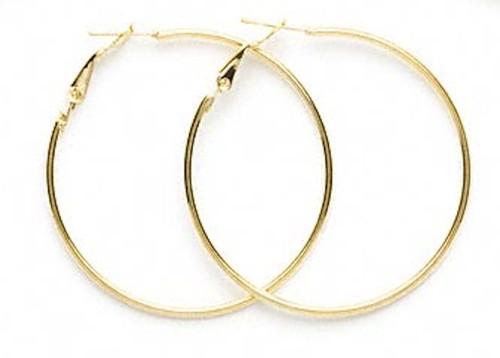 1 Pair Gold Plated Steel 50mm Round Hoop Earrings *