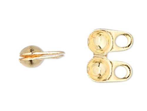 100 Gold Plated Brass 4x2.5mm Side Clamp Bead Tips