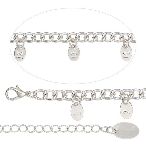 """1 Silver Finished Steel  Bracelet Sizing Chain 14"""" with 9x6mm Tags & Extender"""