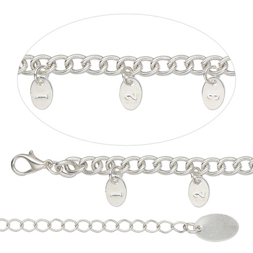 """1 Silver Finished Steel  Necklace Sizing Chain 36"""" with 9x6mm Tags & Extender"""