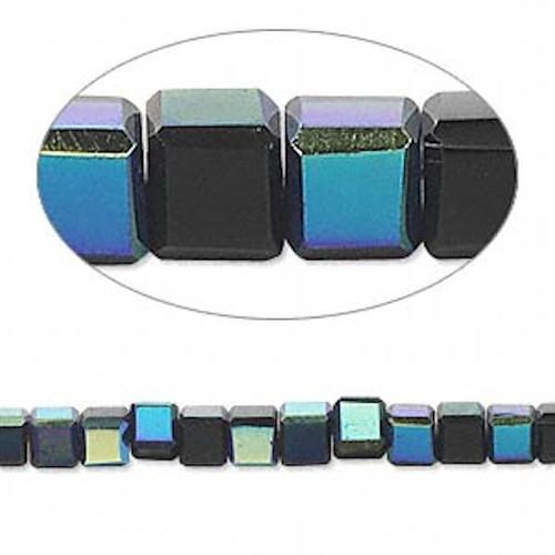 1 Strand 4mm Crystal Auroroa Borealis Black  Rounded Cube Beads *