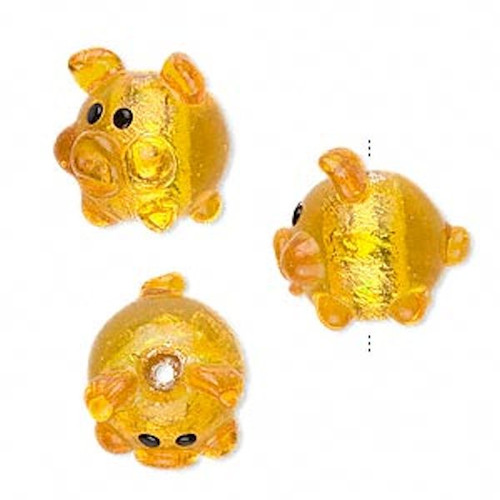 1 Lampwork Glass Gold with Silver Foil PIG Focal Bead *