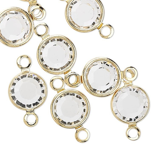 12 Gold Plated Brass 6.14-6.32mm Links with Swarovski Clear Crystals