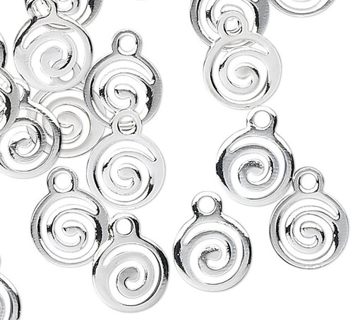100 Silver Plated Brass 9x7mm Drops Round Swirl Charms
