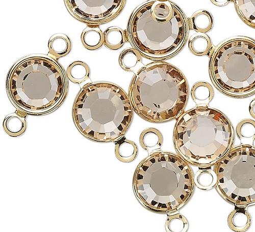 12 Gold Plated Brass 6.14-6.32mm Links with Swarovski Lt Colorado Topaz Crystals*