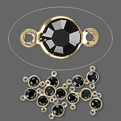 12 Gold Plated Brass 4.0-4.1mm Links with Swarovski Jet Black Crystals *