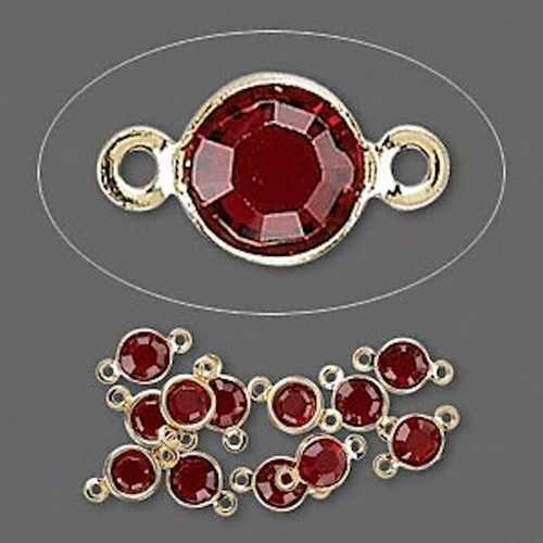 12 Gold Plated Brass 4.0-4.1mm Links with Swarovski Siam Red Crystals *