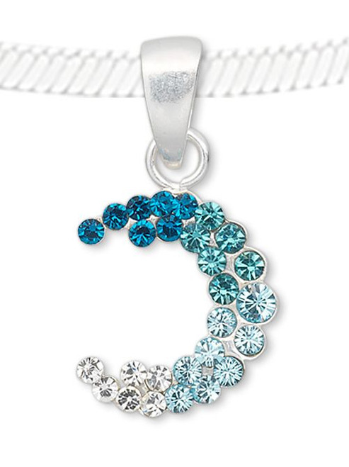 1 Sterling Silver 20x11mm Swarovski Crystal Blue Moon Pendant with Bail *