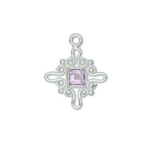 1 Sterling Silver 22x18mm Cross with Amethyst 6mm Faceted Stone Charm *