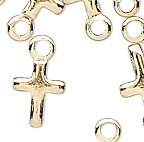 50 Gold Plated Brass 5.5x4mm Miniature Cross Charms