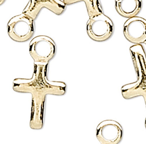 50 Gold Plated Brass 5.5x4mm Miniature Cross Charms