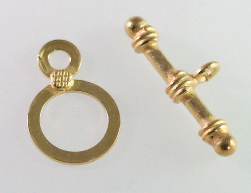 1 Set 14KT Gold-Filled 11mm Flat Round Toggle Clasps *