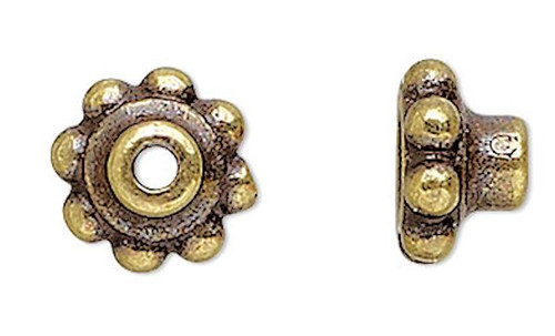 10 Antiqued Gold Plated Pewter Bead Aligners & Hole Adaptors To Stop Wobbles