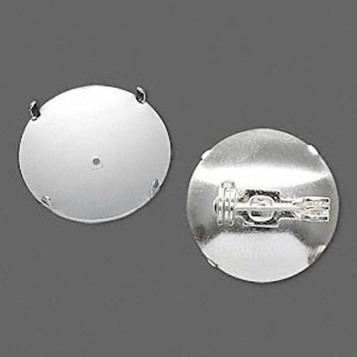10 Silver Plated 19mm Pin Backs For Perforated Beading Disc Cabochon & More