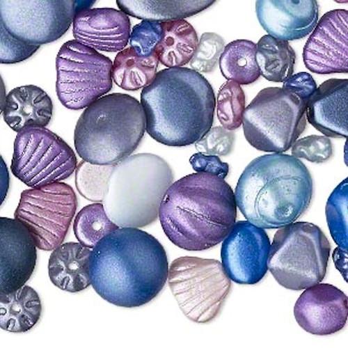 1/4 lb Czech Pressed Glass Matte Metallic Blue & Purple Bead Mix of Multi Shapes & Colors